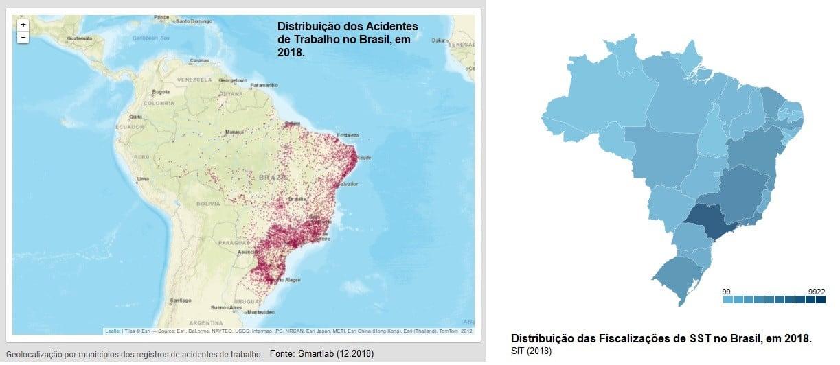 Mapas Distribuição de acidentes em 2018